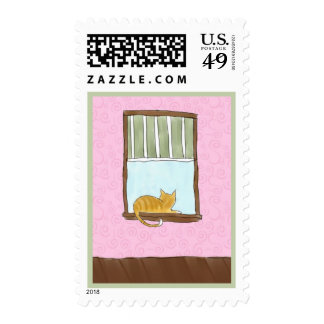 Yellow Kitty in a Window Postage Stamp