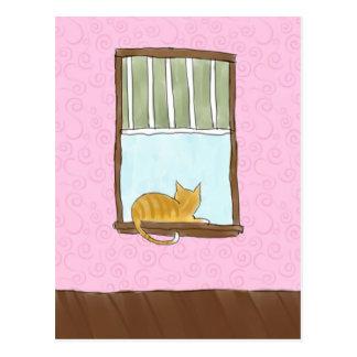 Yellow Kitty in a Window Postcard
