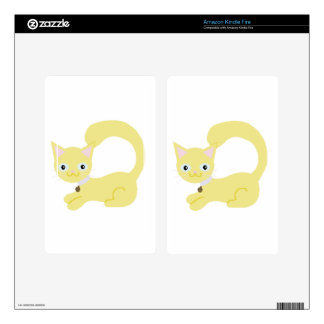 Yellow Kitty with Purple collar and Blue eyes Decal For Kindle Fire