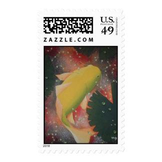yellow koi 2 stamp