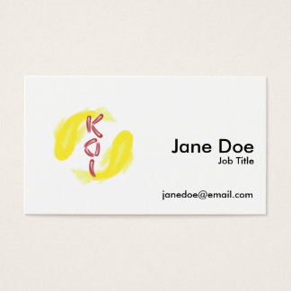 "Yellow Koi Fish Pair w/ Red ""KOI"" -Custom BG Color Business Card"