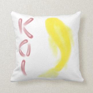 """Yellow Koi Fish w/ Red """"KOI"""" Throw Pillow"""