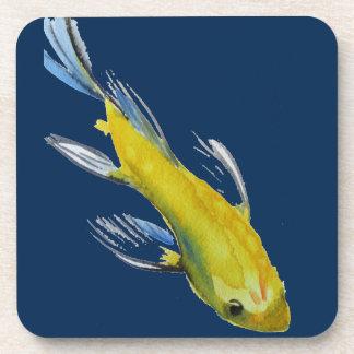 Yellow koi Japanese carp watercolour art fish Beverage Coaster
