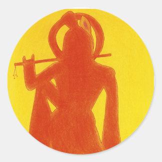 Yellow Krishna Classic Round Sticker