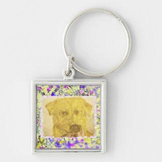 yellow lab art drip keychain