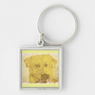 yellow lab art keychain