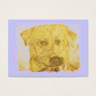 yellow lab art(powder blue) business card