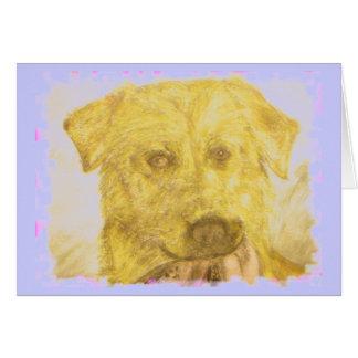 yellow lab art (powder blue) card