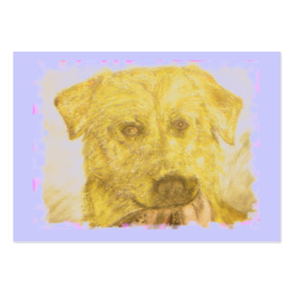 yellow lab art(powder blue) large business card