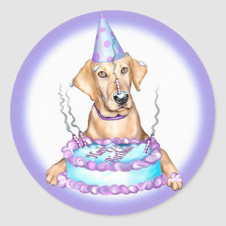 Yellow Lab Cake Face Birthday Classic Round Sticker