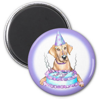 Yellow Lab Cake Face Birthday Fridge Magnet