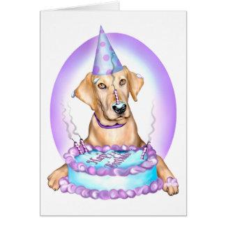 Yellow Lab Cake Face Birthday Greeting Card