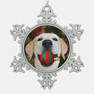 Yellow lab Christmas ball Snowflake Pewter Christmas Ornament