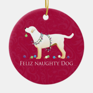 Yellow Lab Christmas Feliz Naughty Dog Ceramic Ornament