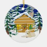 Yellow Lab Christmas Log Cabin Ornaments