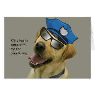 Yellow Lab Cop in disguise birthday card