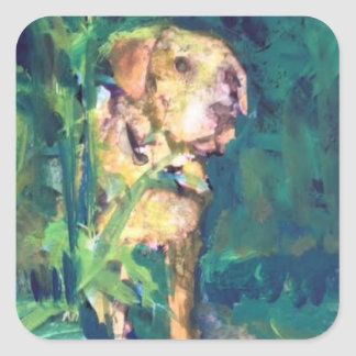 Yellow Lab Creek Painting Sticker