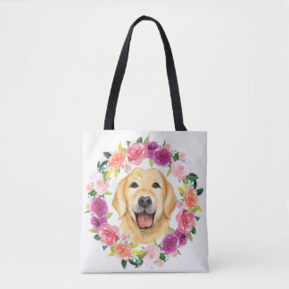 Yellow Lab Dog with Floral Wreath Tote Bag
