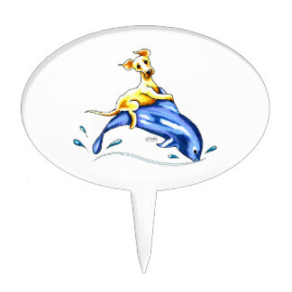 Yellow Lab Dolphin Ride Cake Topper