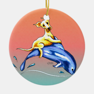 Yellow Lab Dolphin Ride Ornaments