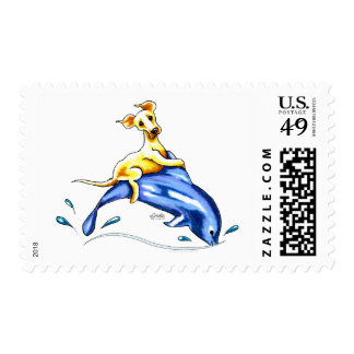 Yellow Lab Dolphin Ride Postage