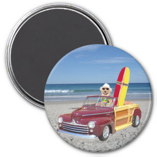 Yellow Lab Driving Woodie 3 Inch Round Magnet