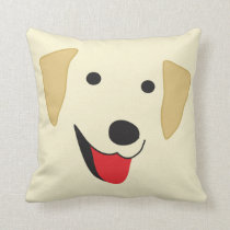 Yellow Lab Face Throw Pillow