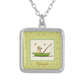 Yellow Lab Fishing Dragonflies Personalized Square Pendant Necklace