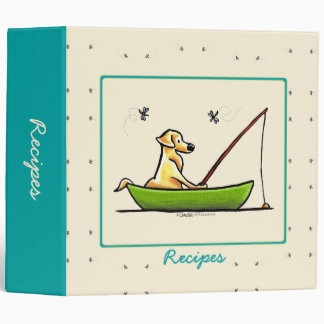 Yellow Lab Fishing Dragonflies Recipes Custom 3 Ring Binders