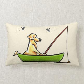 Yellow Lab Fishing Lumbar Pillow