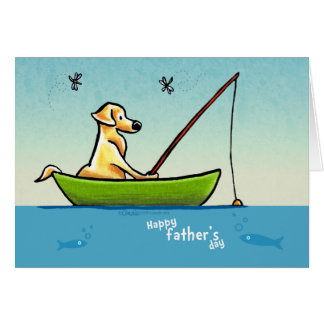 Yellow Lab Fishing Off-Leash Art™ Fathers Day Card