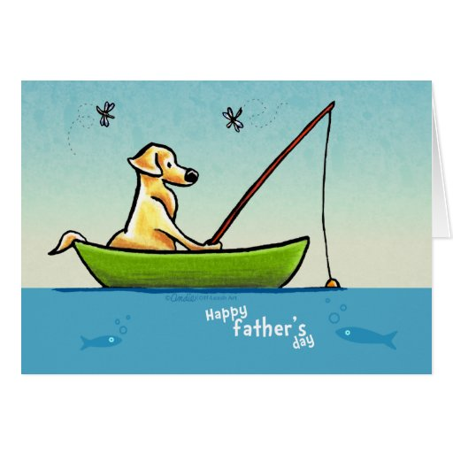 Yellow lab fishing off leash art fathers day card zazzle for Father s day fishing card