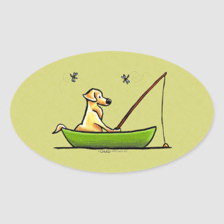 Yellow Lab Fishing Oval Sticker