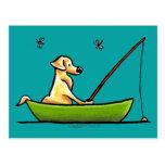 Yellow Lab Fishing Post Cards
