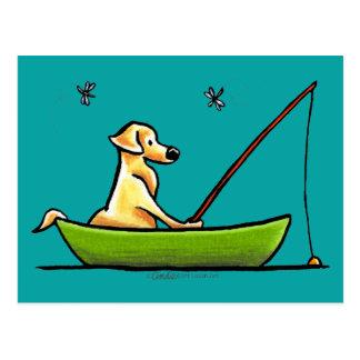 Yellow Lab Fishing Postcard