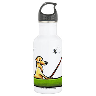 Yellow Lab Fishing Stainless Steel Water Bottle