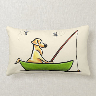 Yellow Lab Fishing Throw Pillow