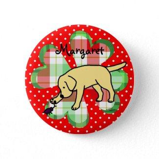 Yellow Lab Friendly Cartoon Labrador Pinback Buttons