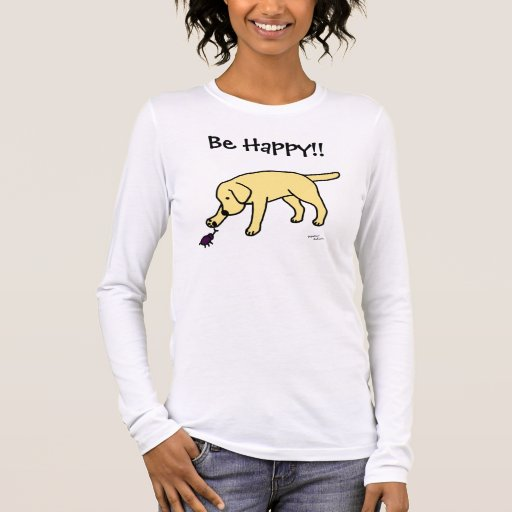 Yellow Lab Friendly Cartoon Labrador Long Sleeve T-Shirt