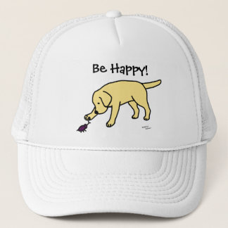 Yellow Lab Friendly Cartoon Labrador Trucker Hat