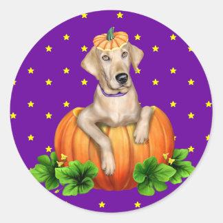 Yellow Lab Halloween Labr-O-Lantern Round Sticker
