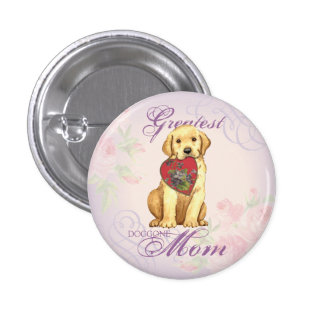 Yellow Lab Heart Mom Button