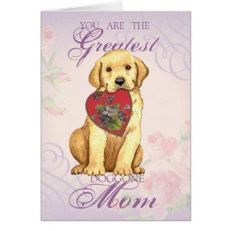 Yellow Lab Heart Mom Card