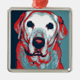 Yellow Lab Hope Political Parody Design Metal Ornament