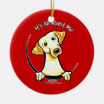 Yellow Lab Its All About Me Double-Sided Ceramic Round Christmas Ornament