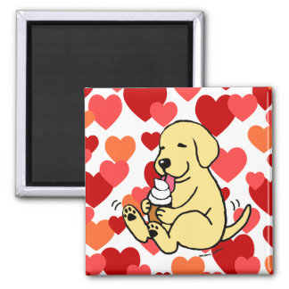 Yellow Lab Licking Ice Cream with Hearts 2 Inch Square Magnet