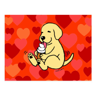 Yellow Lab Licking Ice Cream with Hearts Postcard