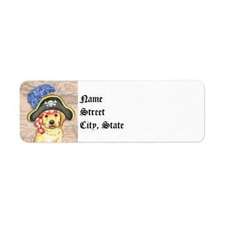 Yellow Lab Pirate Return Address Label