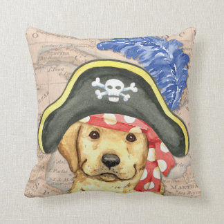Yellow Lab Pirate Throw Pillow