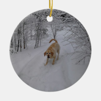 Yellow Lab Playing in Fresh Winter Snow Ceramic Ornament